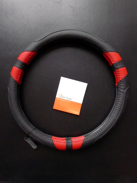 Dee-Type Leather Steering Wheel Cover Universal 15 inch Black /& Red